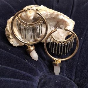 Vintage Mixed Metal with Quartz Hoop Earrings